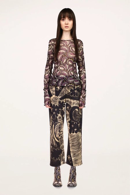 Anna Sui Swirling Leaves Mesh Top - Black Multi