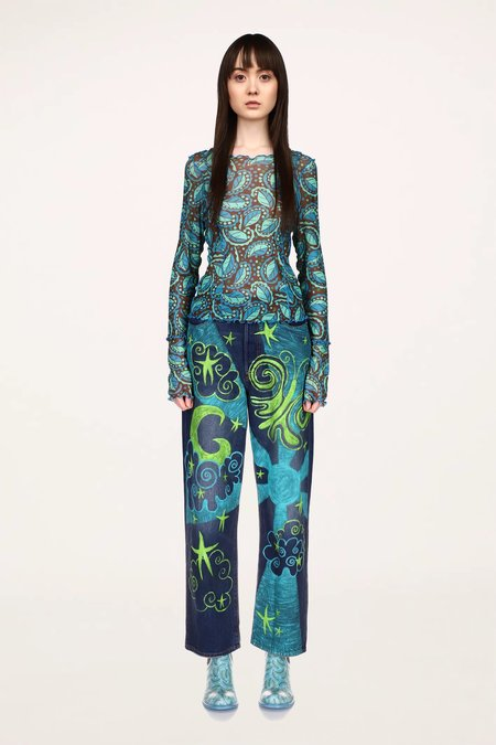 Anna Sui Swirling Leaves Mesh Top - TURQUOISE MULTI