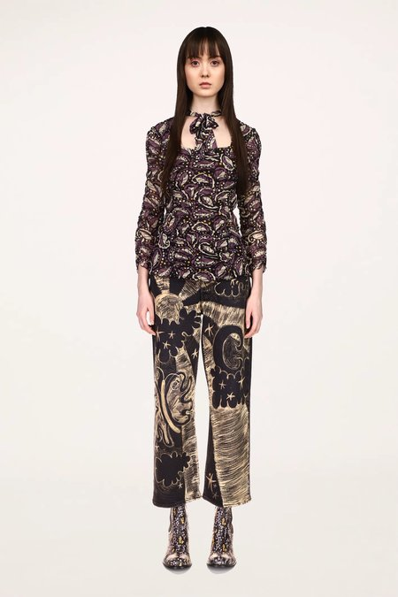 Anna Sui Swirling Leaves Top - Black Multi