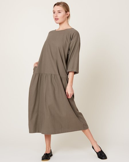 Black Crane Easy Dress - Mud