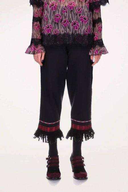 Anna Sui Fairytale Trim Faux Suede Pants - Magenta Multi