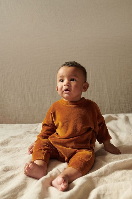 Kids My Little Cozmo Organic Velour Baby Jumpsuit - Caramel