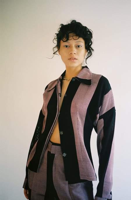 Mozh Mozh Sama Shirt - purple/pink and black