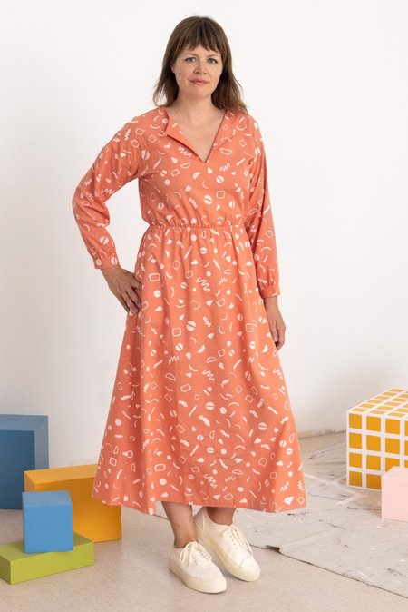 North Of West Luz Squiggles Print Dress - Flamingo