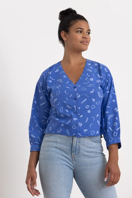 North Of West Rosa Squiggles Print Blouse  Top - Azure