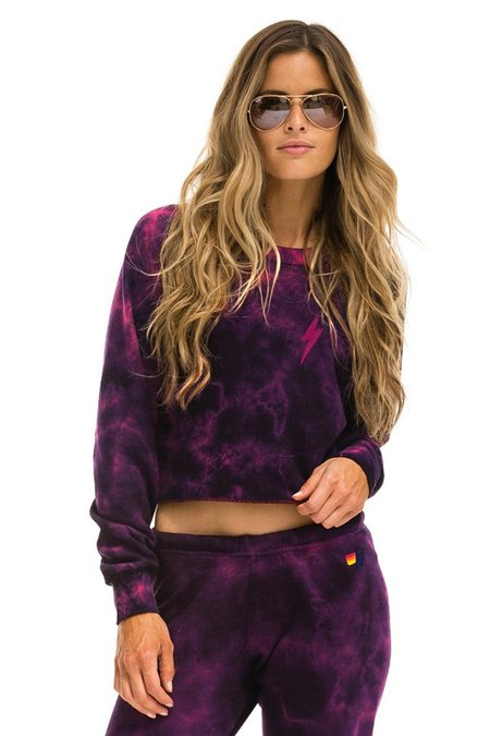 Aviator Nation Hand Dyed Bolt Classic Crew Crop - Tie Dye Crystal Rose