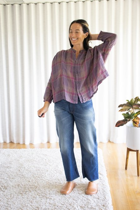 ICHI ANTIQUITES Linen Voile Madras Check Over Dye Shirt - Violet