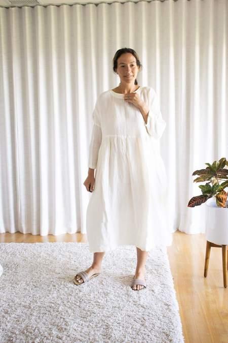 Ichi Antiquités Linen Dobby Azumadaki Dress - White