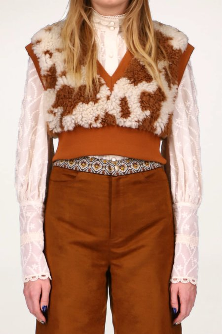 Anna Sui Cropped Faux Cowhide Vest - CARAMEL MULTI