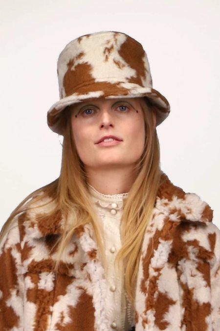 Anna Sui Faux Cowhide Hat - Caramel