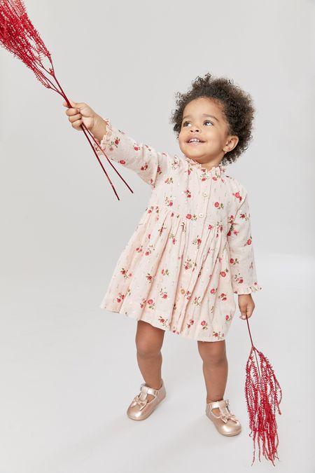 Kids Pink Chicken Autumn Dress - Wallpaper Floral