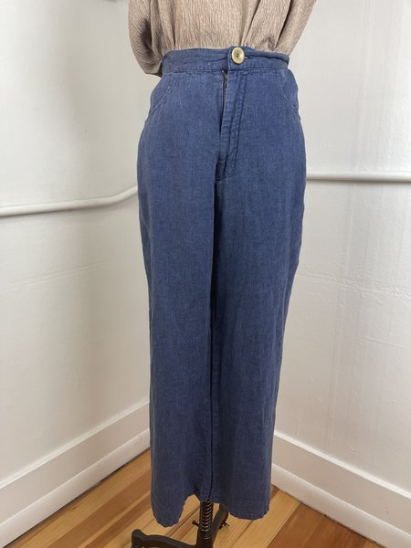 [Pre-Loved] Flax Blue Linen Button Front Trouser - Blue