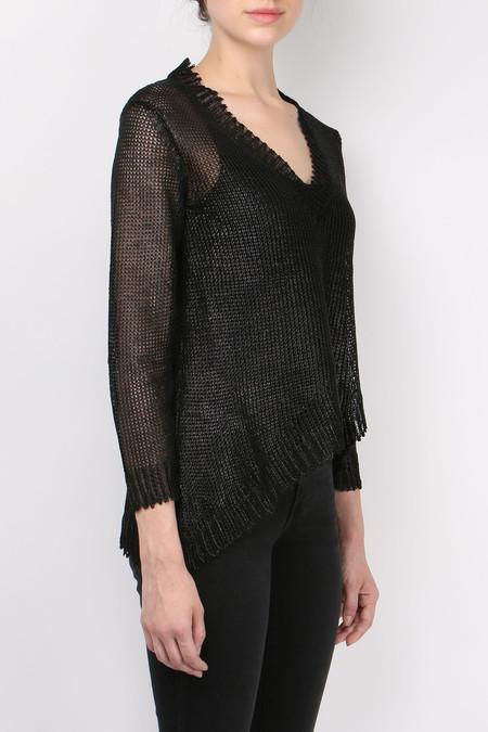 (nude) Coated Linen Sweater - Black