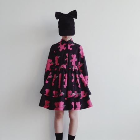 kids caroline bosmans layered dress - black/pink teddy