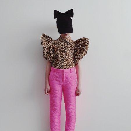 kids caroline bosmans puff sleeve shirt - leopard