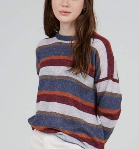 Autumn Cashmere Relaxed Fit Stripe Crew - Denim Multi