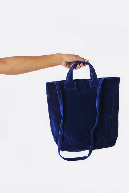 Zilla Cobalt Velvet Shopper - Blue
