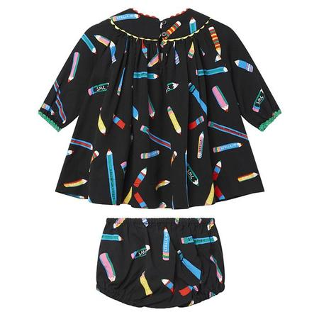 Kids Stella McCartney Dress With All Over Pencil Print - Black