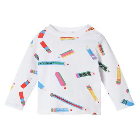 Kids Stella McCartney T-shirt With All Over Pencil Print - White