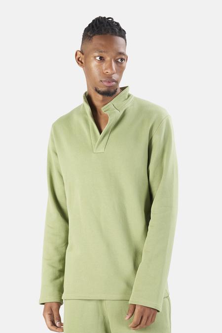 Blue&Cream Pop Collar Pullover Sweater - Pistachio