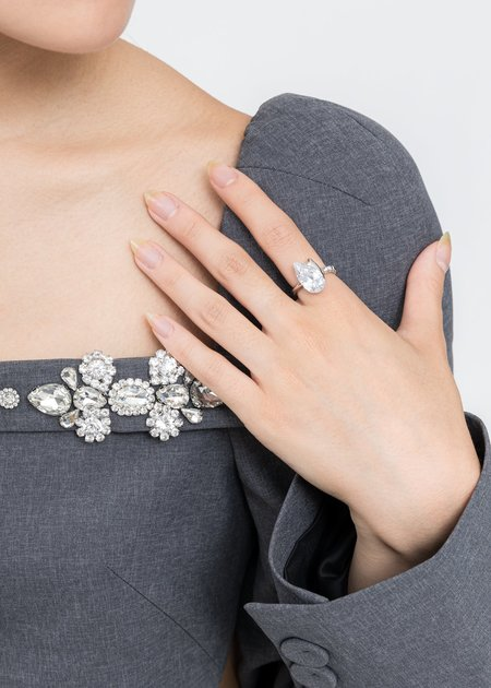 DEPARTMENT Rhinestone Tulip Ring - Silver