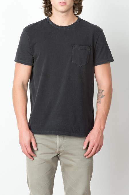 RRL Cotton Slub Pocket Tee In Black