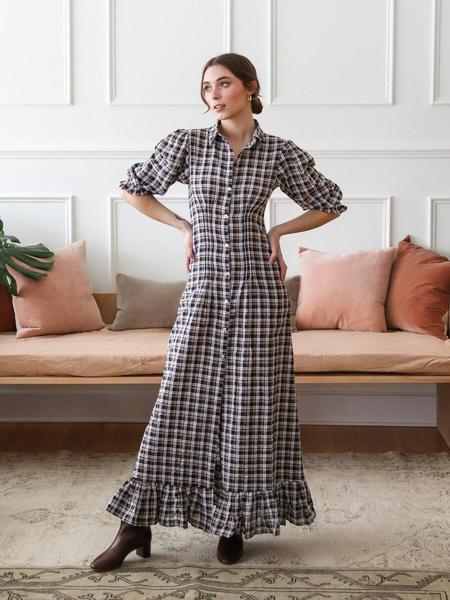Mille Laurel Dress - Navy Plaid