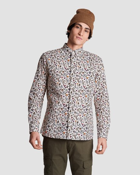 Poplin & Co. Casual Button Down Long Sleeve Shirt - Mushroom Magic Print