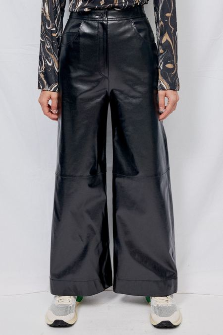 Blossom H Company Faux Leather Wide Pants - Black