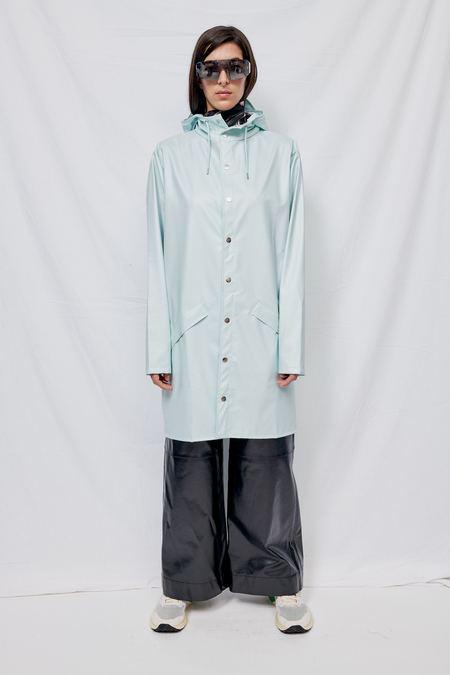 Unisex Rains Hooded Rain Long Jacket - Ice