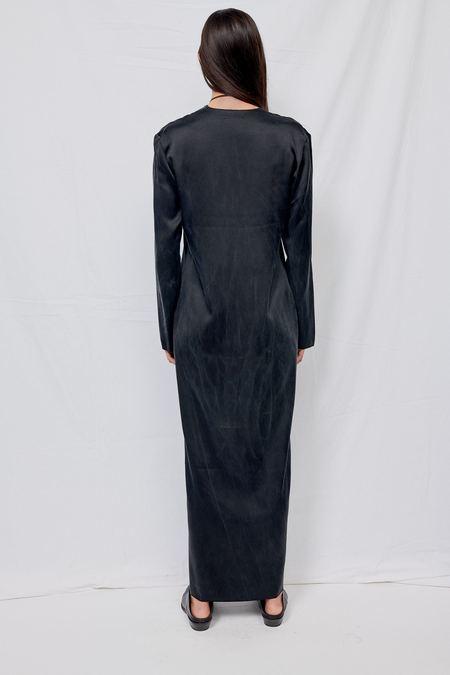 Gabriela Coll Garments NO.125 Heavy Silk Longsleeve Dress - Black