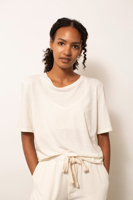Jungmaven Silver Lake Cropped Tee - Washed White