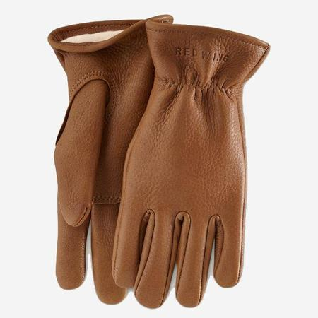 Red Wing Shoes Lined Buckskin Leather Gloves - Nutmeg