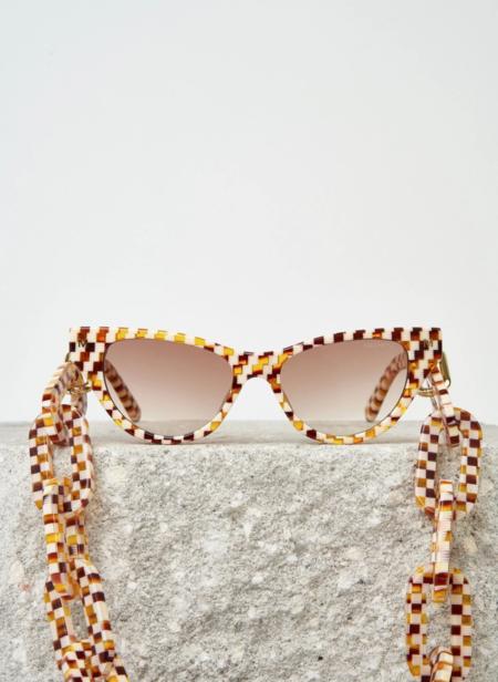 Machete Chunky Sunglass Chain - Tortoise Checker