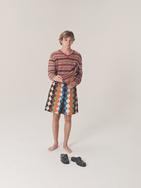 BODE Knit Quilt Check Rugby Shorts