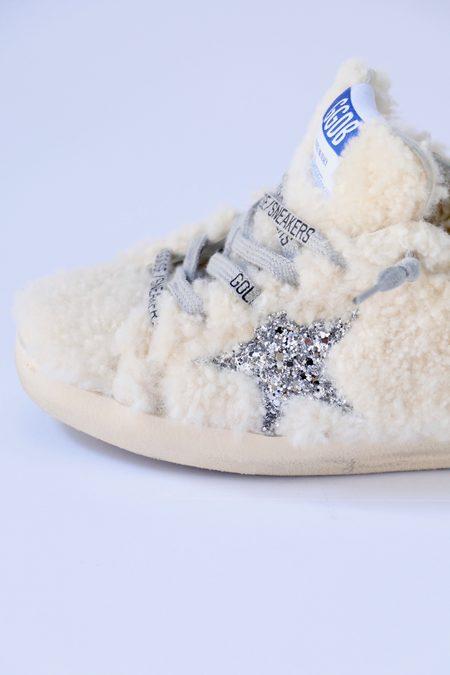 Golden Goose Super Star Sabot Style Sneakers - Shearling/Glitter Star