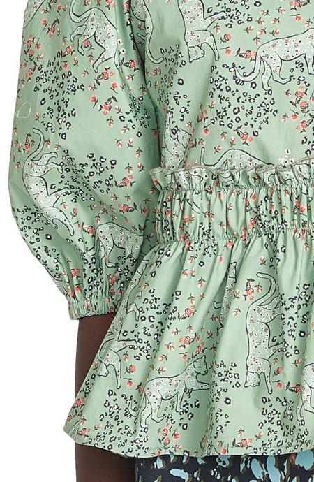 Corey Lynn Calter Peggy Peplum Top - Garden Leopard Mist Print