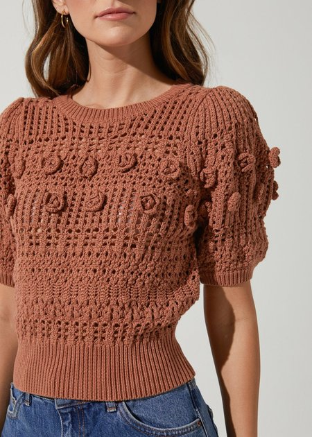 Astr the Label Winslow Flower Embroidery Knit Sweater