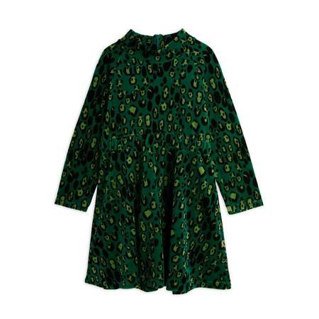 kids mini rodini leopard velour dress - green