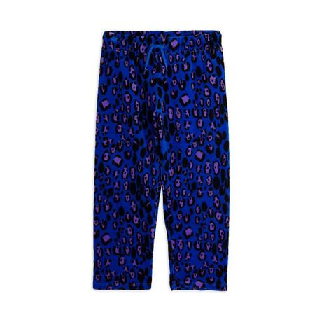 kids mini rodini leopard velour trousers - blue