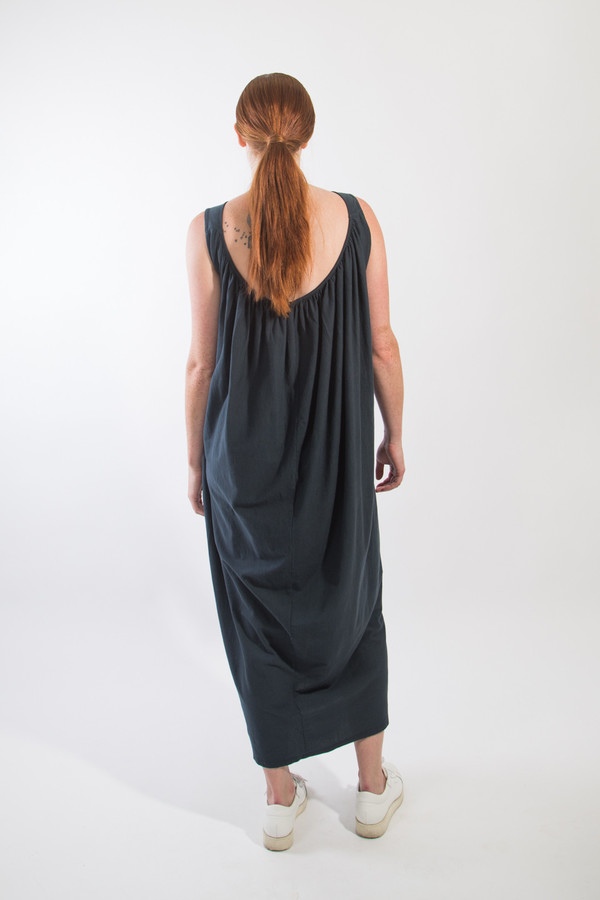 Black Crane Long Gathered Dress