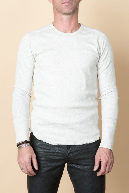 Wings + Horns L/S 1x1 Slub Rib Crew In Heather Ash