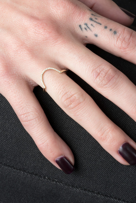 WWAKE Micropave Big Arc Ring In 14KY