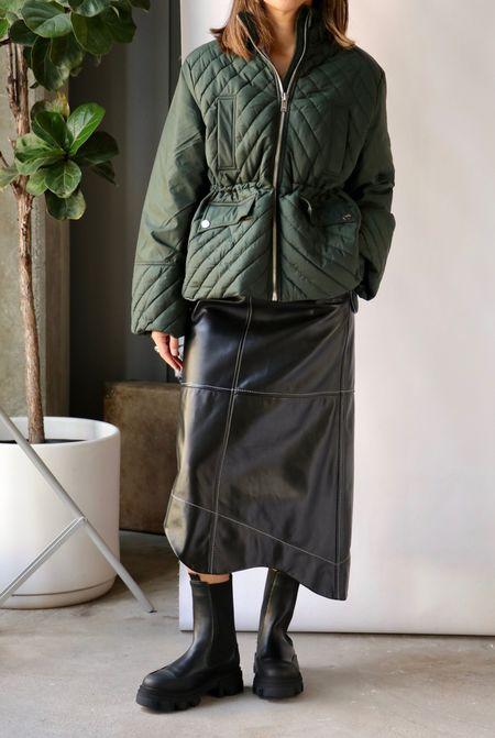 Ganni Quilted Jacket - Dark Green