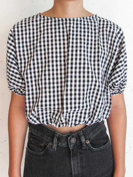at Dawn. Back Open Puff Sleeve Top - Black Gingham