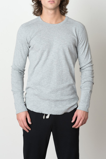 Wings + Horns 1x1 Slub Rib L/S Crew In Heather Grey