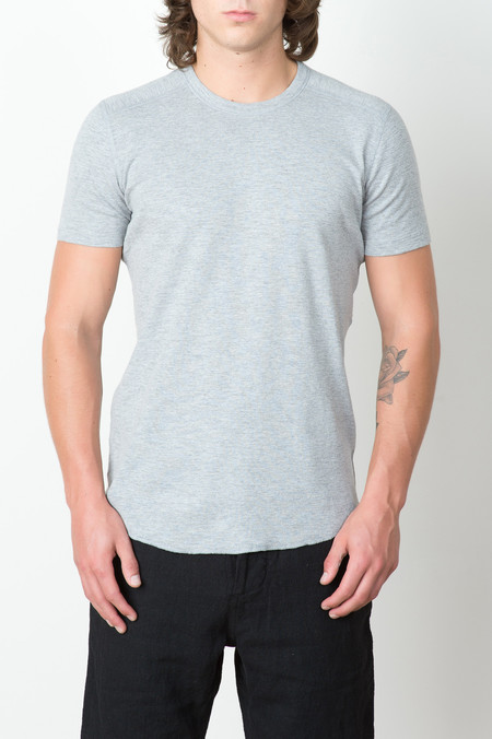 Wings + Horns 1x1 Slub Rib S/S Crew In Heather Grey