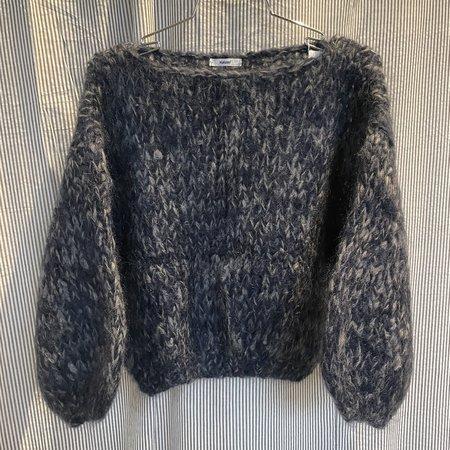 Maiami Mohair Big Sweater - Navy/Grey Melange