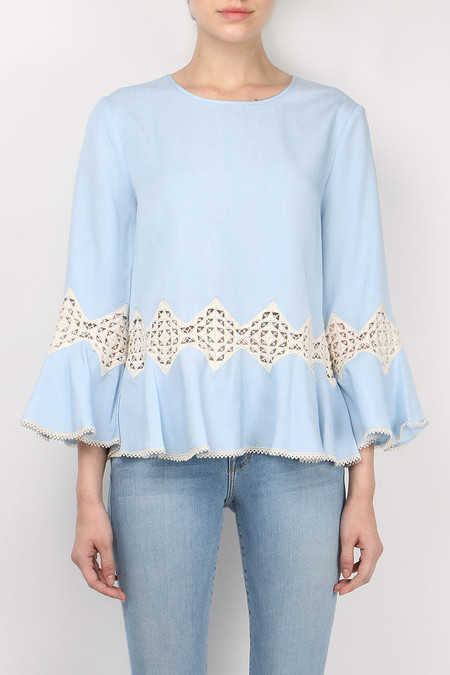 Jonathan Simkhai Fluid Chambray Trumpet Sleeve Top