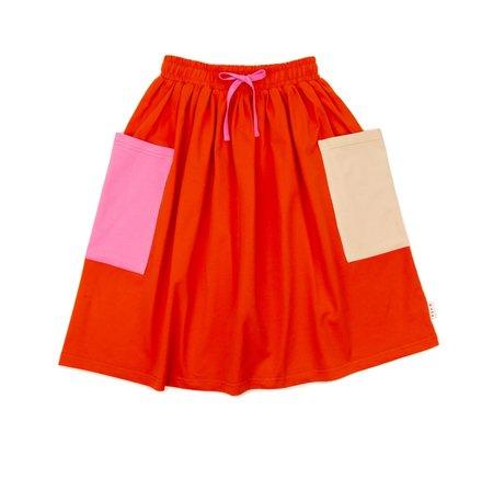 Kids Olive and the Captain Somewhere Pocket Midi Skirt - Tangerine Red